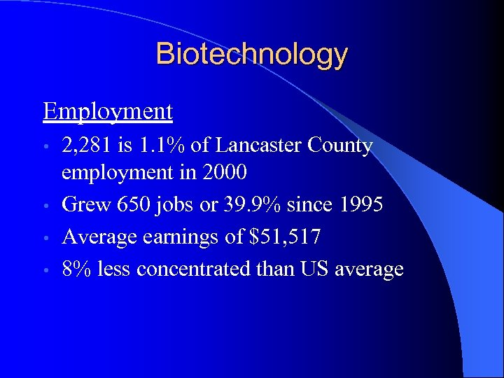 Biotechnology Employment 2, 281 is 1. 1% of Lancaster County employment in 2000 •
