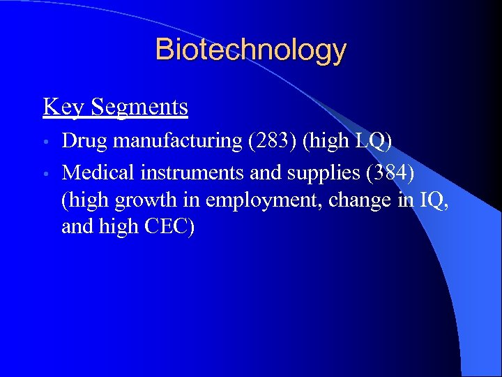Biotechnology Key Segments Drug manufacturing (283) (high LQ) • Medical instruments and supplies (384)