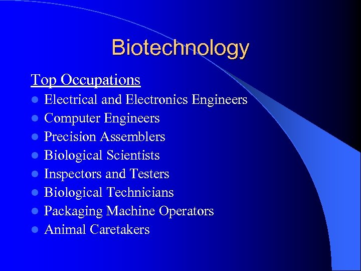 Biotechnology Top Occupations l l l l Electrical and Electronics Engineers Computer Engineers Precision