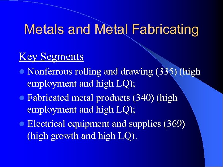 Metals and Metal Fabricating Key Segments l Nonferrous rolling and drawing (335) (high employment