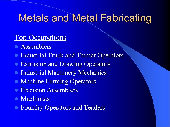 Metals and Metal Fabricating Top Occupations l l l l Assemblers Industrial Truck and