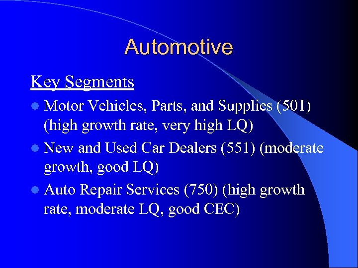 Automotive Key Segments l Motor Vehicles, Parts, and Supplies (501) (high growth rate, very