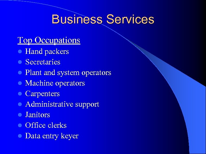 Business Services Top Occupations l l l l l Hand packers Secretaries Plant and