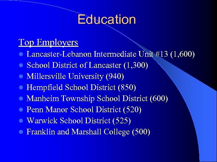 Education Top Employers l l l l Lancaster-Lebanon Intermediate Unit #13 (1, 600) School