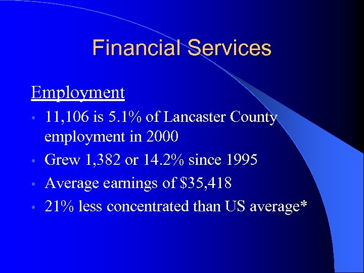 Financial Services Employment 11, 106 is 5. 1% of Lancaster County employment in 2000