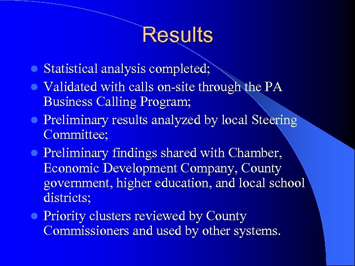 Results l l l Statistical analysis completed; Validated with calls on-site through the PA