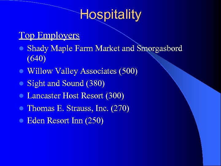 Hospitality Top Employers l l l Shady Maple Farm Market and Smorgasbord (640) Willow