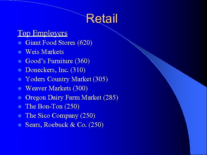Retail Top Employers l l l l l Giant Food Stores (620) Weis Markets