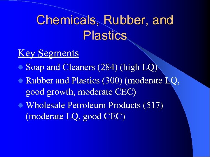 Chemicals, Rubber, and Plastics Key Segments l Soap and Cleaners (284) (high LQ) l