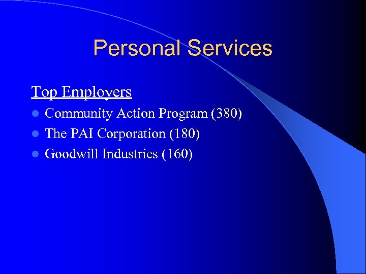 Personal Services Top Employers Community Action Program (380) l The PAI Corporation (180) l