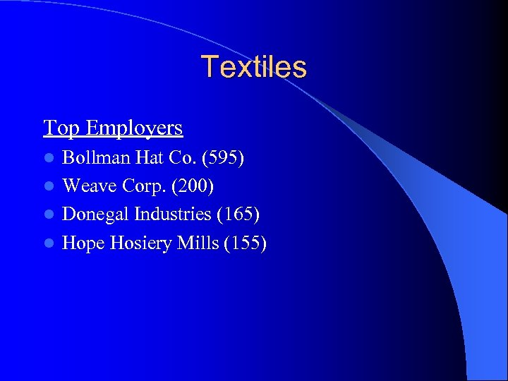Textiles Top Employers Bollman Hat Co. (595) l Weave Corp. (200) l Donegal Industries