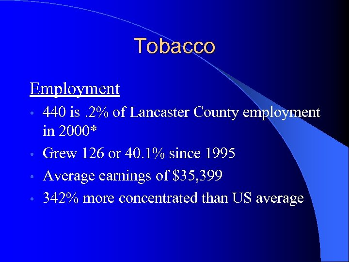 Tobacco Employment 440 is. 2% of Lancaster County employment in 2000* • Grew 126
