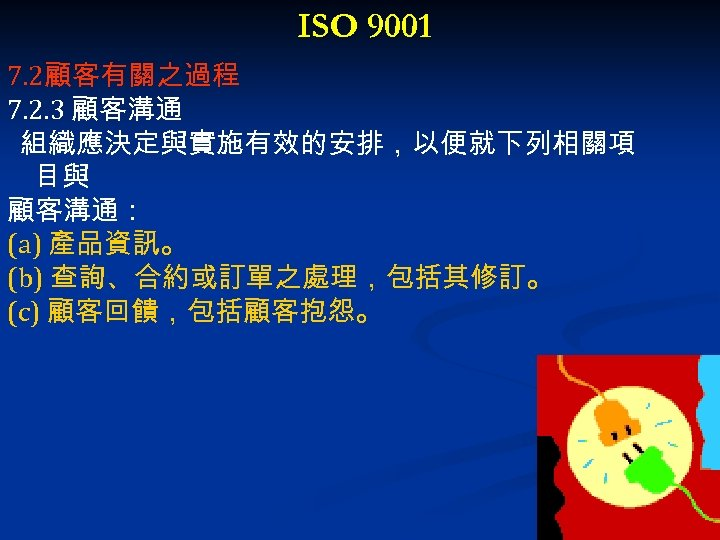 ISO 9001 7. 2顧客有關之過程 7. 2. 3 顧客溝通 組織應決定與實施有效的安排,以便就下列相關項 目與 顧客溝通: (a) 產品資訊。 (b)