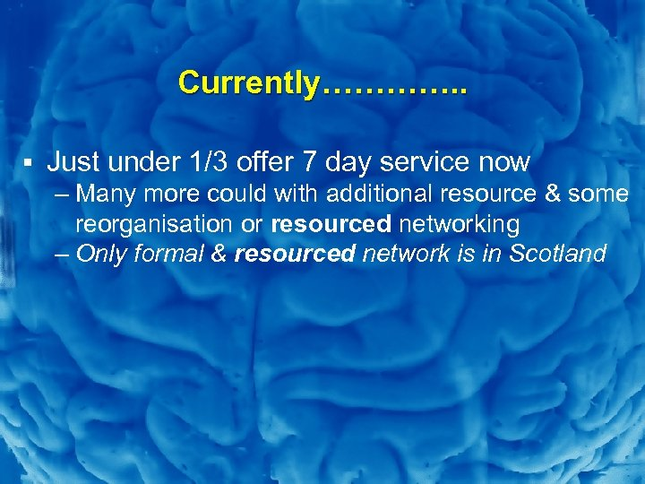 Slide 10 Currently…………. . § Just under 1/3 offer 7 day service now –