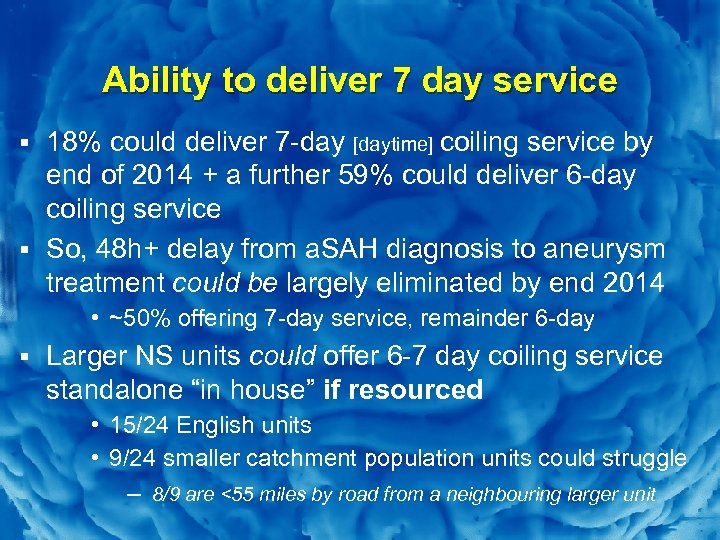 Slide 11 Ability to deliver 7 day service § 18% could deliver 7 -day