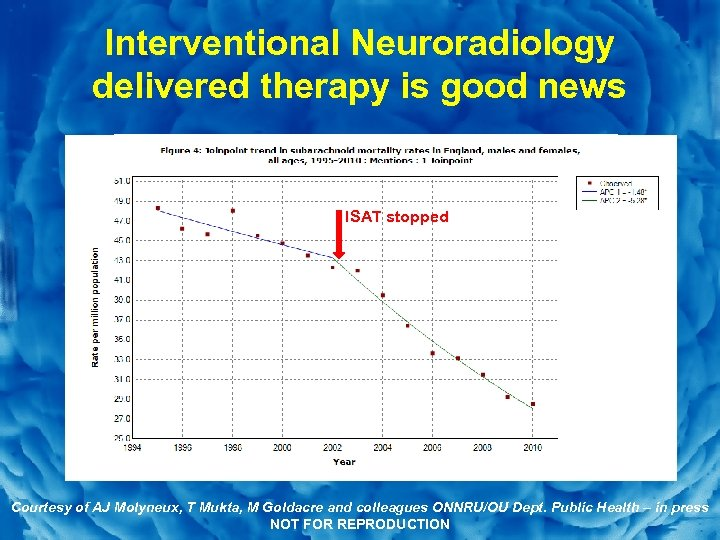 Slide 4 Interventional Neuroradiology delivered therapy is good news ISAT stopped Courtesy of AJ