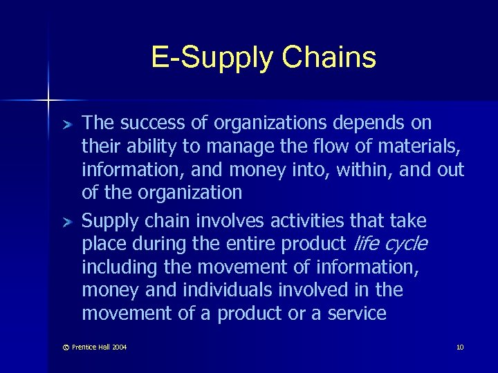 E-Supply Chains The success of organizations depends on their ability to manage the flow