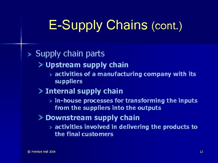 E-Supply Chains (cont. ) Supply chain parts Upstream supply chain activities of a manufacturing