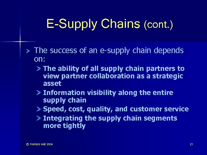 E-Supply Chains (cont. ) The success of an e-supply chain depends on: The ability