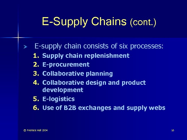 E-Supply Chains (cont. ) E-supply chain consists of six processes: 1. 2. 3. 4.