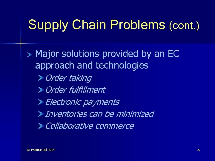 Supply Chain Problems (cont. ) Major solutions provided by an EC approach and technologies