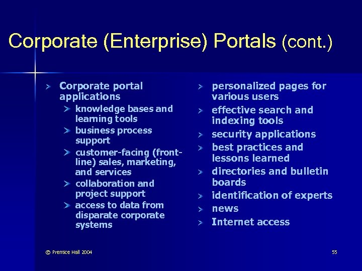 Corporate (Enterprise) Portals (cont. ) Corporate portal applications knowledge bases and learning tools business