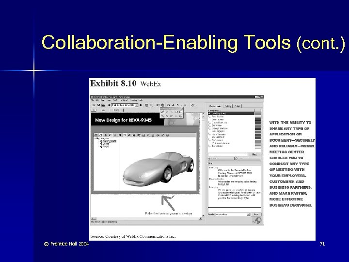 Collaboration-Enabling Tools (cont. ) © Prentice Hall 2004 71