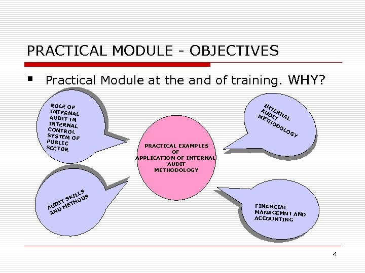 PRACTICAL MODULE - OBJECTIVES § Practical Module at the and of training. WHY? ROLE
