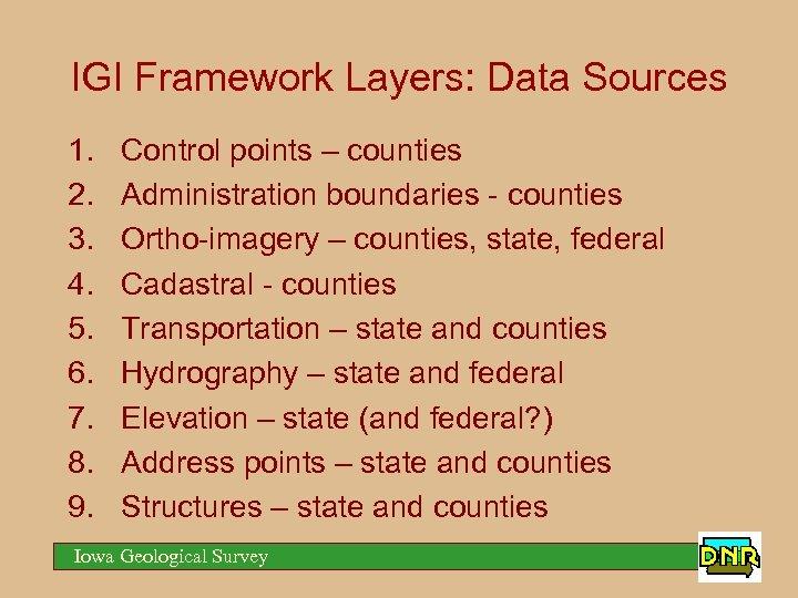 IGI Framework Layers: Data Sources 1. 2. 3. 4. 5. 6. 7. 8. 9.