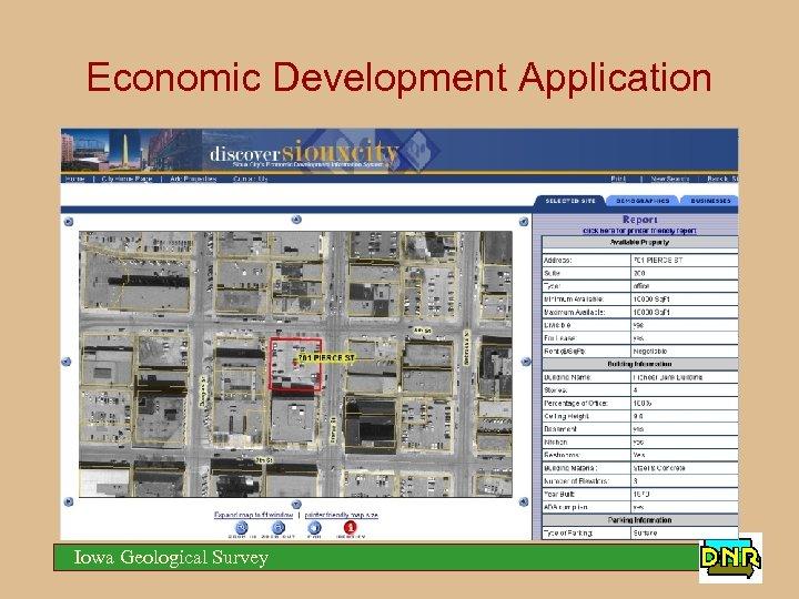 Economic Development Application Iowa Geological Survey