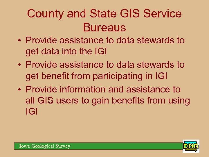 County and State GIS Service Bureaus • Provide assistance to data stewards to get
