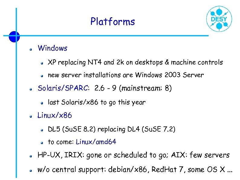 Platforms Windows XP replacing NT 4 and 2 k on desktops & machine controls