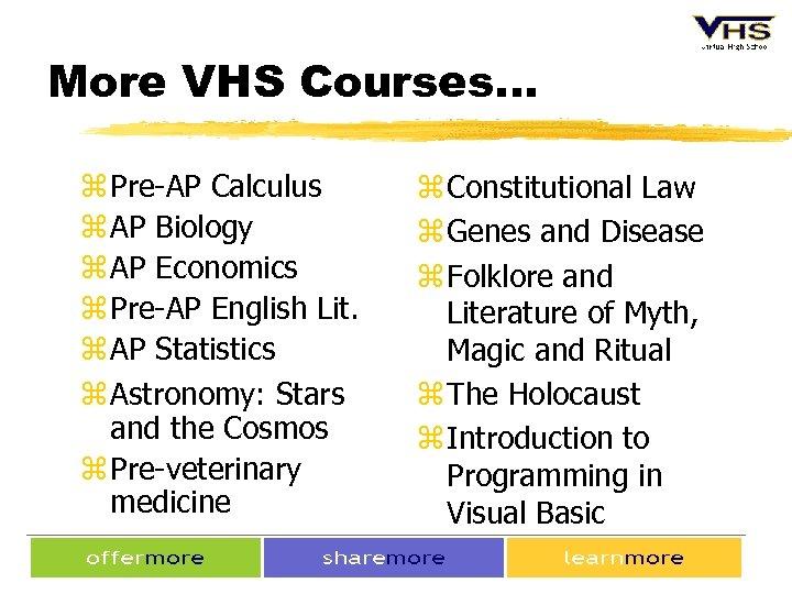 More VHS Courses. . . z Pre-AP Calculus z AP Biology z AP Economics