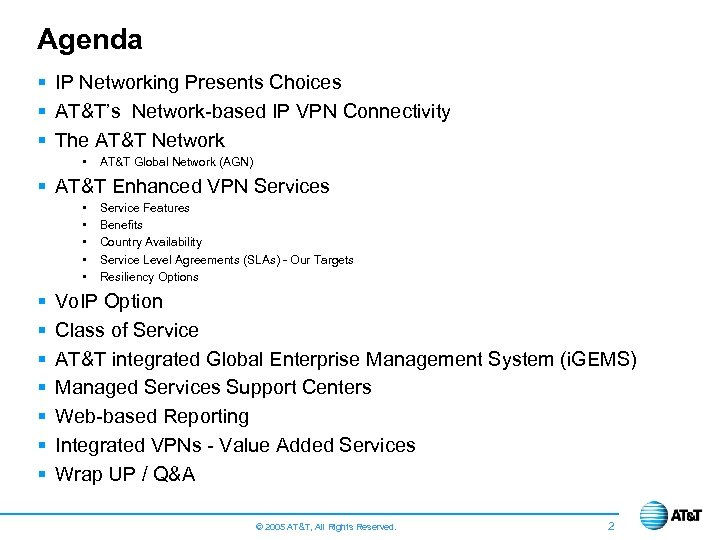 Agenda § IP Networking Presents Choices § AT&T's Network-based IP VPN Connectivity § The