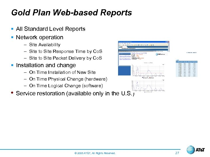 Gold Plan Web-based Reports § All Standard Level Reports § Network operation – Site