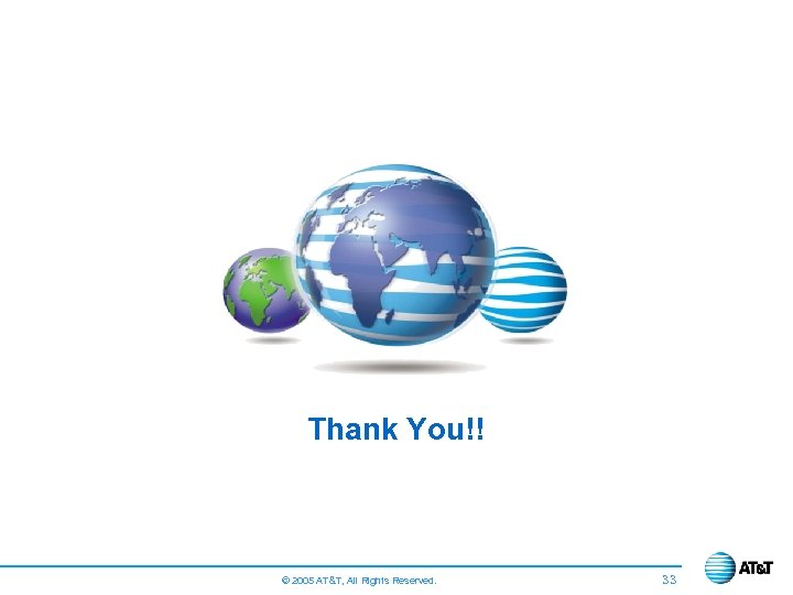 Thank You!! © 2005 AT&T, All Rights Reserved. 33