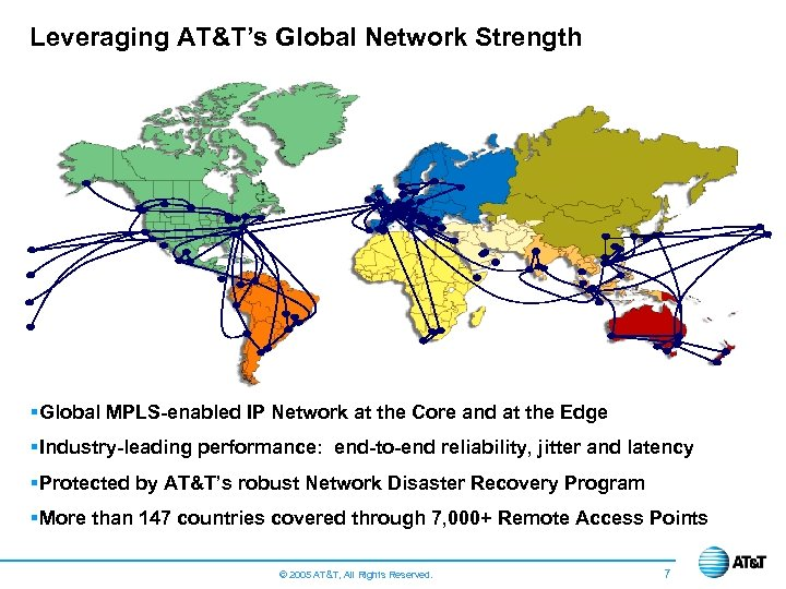 Leveraging AT&T's Global Network Strength § Global MPLS-enabled IP Network at the Core and