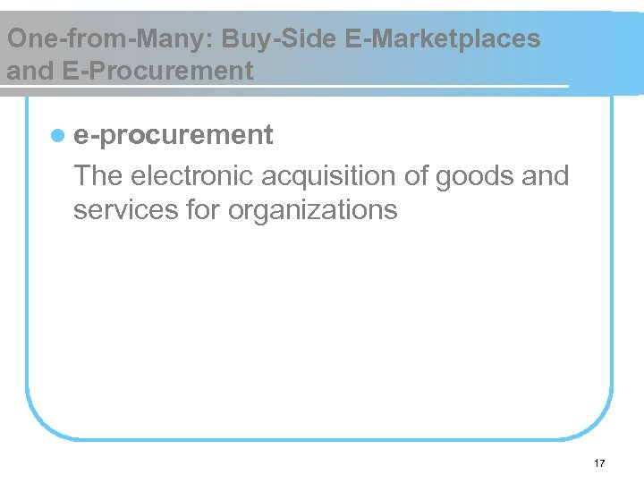 One-from-Many: Buy-Side E-Marketplaces and E-Procurement l e-procurement The electronic acquisition of goods and services