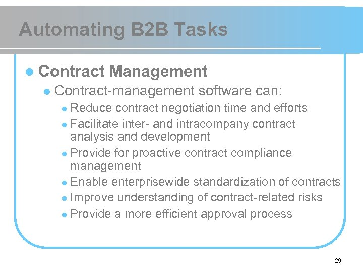 Automating B 2 B Tasks l Contract l Management Contract-management software can: Reduce contract