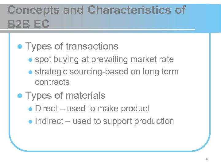 Concepts and Characteristics of B 2 B EC l Types of transactions spot buying-at