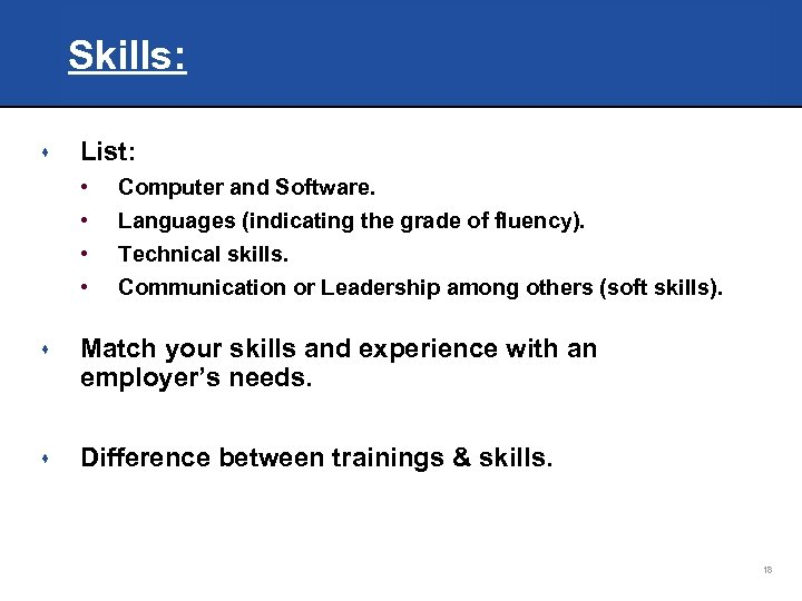 Skills: s List: • • Computer and Software. Languages (indicating the grade of fluency).