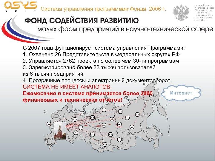 Система управления программами Фонда. 2006 г.