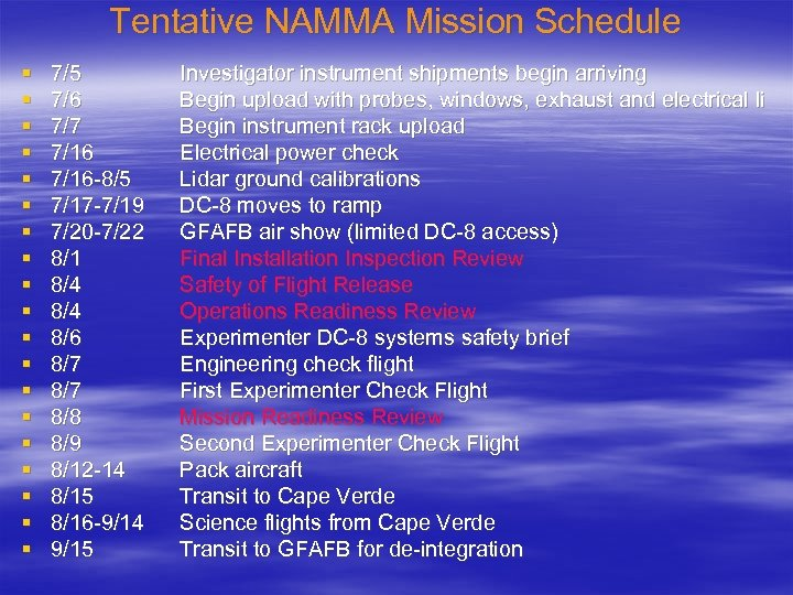Tentative NAMMA Mission Schedule § § § § § 7/5 7/6 7/7 7/16 -8/5