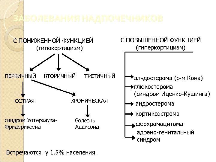ЗАБОЛЕВАНИЯ НАДПОЧЕЧНИКОВ С ПОНИЖЕННОЙ ФУНКЦИЕЙ (гипокортицизм) ПЕРВИЧНЫЙ ВТОРИЧНЫЙ ОСТРАЯ синдром Уотерхауза. Фридериксена ТРЕТИЧНЫЙ ХРОНИЧЕСКАЯ