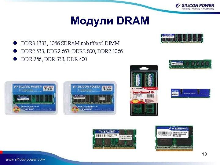 Модули DRAM l DDR 3 1333, 1066 SDRAM unbuffered DIMM l DDR 2 533,