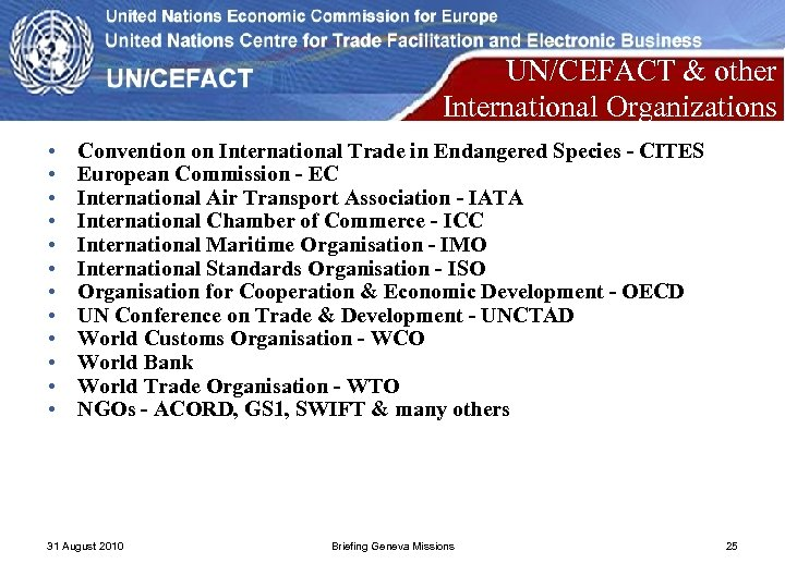 UN/CEFACT & other International Organizations • • • Convention on International Trade in Endangered