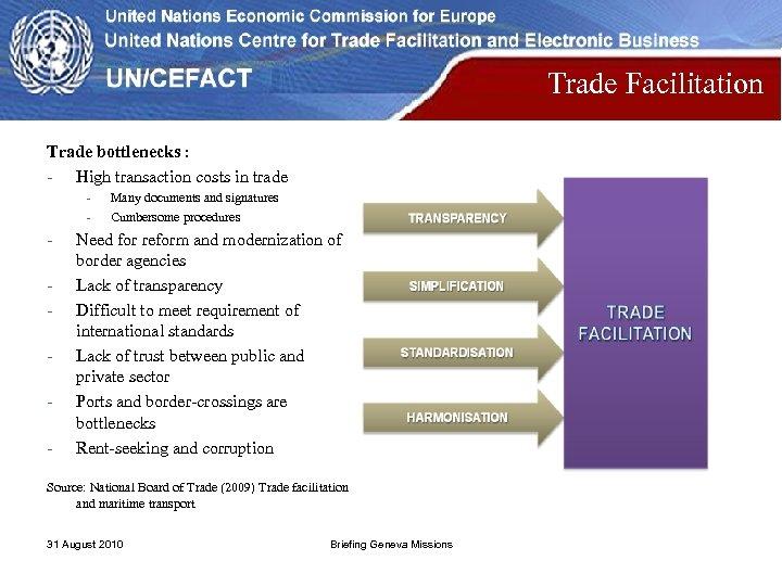 Trade Facilitation Trade bottlenecks : - High transaction costs in trade - - Many