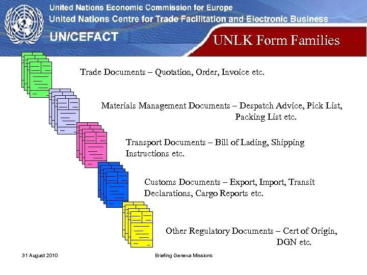 UNLK Form Families Trade Documents – Quotation, Order, Invoice etc. Materials Management Documents –