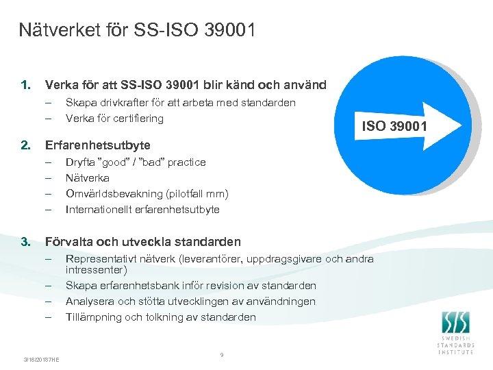 Nätverket för SS-ISO 39001 1. Verka för att SS-ISO 39001 blir känd och använd
