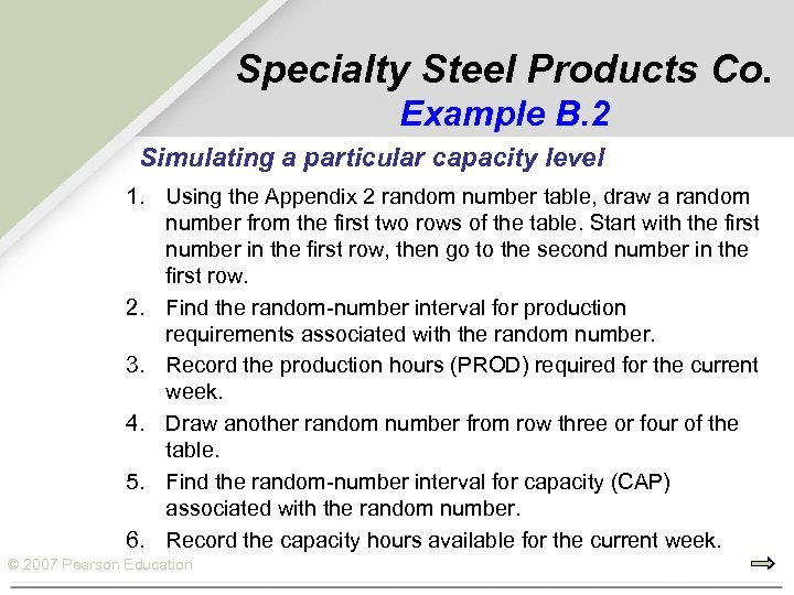 Specialty Steel Products Co. Example B. 2 Simulating a particular capacity level 1. Using